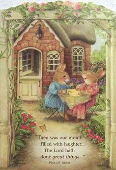 I just LOVE Holly Pond Hill artwork by artist Susan Wheeler! Susan Wheeler, Rabbit Garden, Art Carte, Bunny Art, Woodland Creatures, Beatrix Potter, Whimsical Art, Cute Illustration, Cute Art