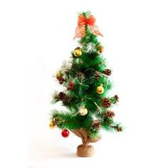 Christmas--tree-with-decorations-battery-operated-color-changing-led-fiber-lights