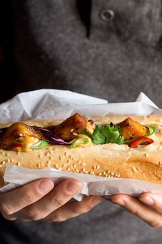 Tofu bánh mì with vegan Sriracha mayo is our version of this popular Vietnamese classic. It's deep-filled with tasty tofu, pickles, veggies and spicy mayo.