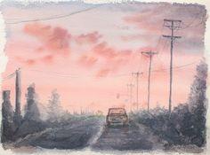 Escenas en acuarela - Carretera al atardecer. Watercolor scenes - Sunset road. HMZEN'14