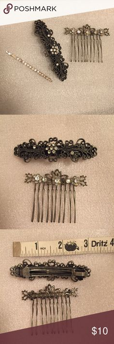Hair Accessories Lot of 3 Gorgeous hair pieces for special occasions or everyday wear. Featuring a floral barrette, rhinestone encrusted bobby pin, and a flower crystal pin perfect for accenting a bun. Great for prom, wedding, party, date. Accessories Hair Accessories