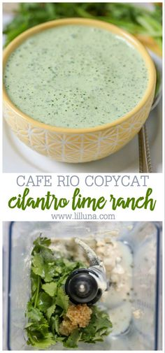 Copycat recipe for Cafe Rio s Ranch Dressing - we LOVE this stuff! It s made with cilantro, mayo, ranch seasoning, sour cream, amp; Cafe Rio Recipes, Copycat Recipes, Mexican Food Recipes, Cilantro Ranch Dressing, Homemade Ranch Dressing, Cafe Rio Dressing, Salad Dressing, Cooking Recipes, Healthy Recipes