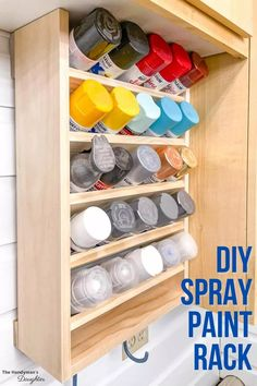 Spray Paint Storage, Craft Paint Storage, Paint Organization, Spray Paint Cans, Diy Garage Storage, Storage Rack, Cool Woodworking Projects, Woodworking Plans, Woodworking Storage Ideas