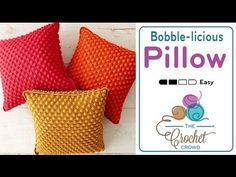 How to Crochet a Pillow: Bobble-licious Pillow Left Handed. Learn how to crochet an accent pillow that has bobbles. I really like the simplicity of the design and the eye catching colours. Bobble Crochet, Crochet Pouf, Crochet Crowd, Crochet Cushions, Chunky Crochet, Crochet Pillow, Crochet Squares, Crochet Cable, Crochet Stitch