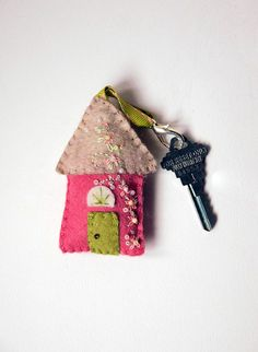 Handmade Wool Felt Key Chain - Key Fob Felt House in Rose Pink and Taupe with Embroidered and Beaded Embellishments, Housewarming Gift on Etsy, $113.33