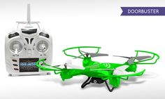 Lightweight quadcopter's integrated camera films video and snaps pictures, which can be viewed instantly through the drone's app
