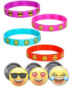 Amazon.com: Brighty Colored Emoji Smile Bracelets (36) and Emoji Button Pins - 3 Different Emoji Faces - Super Fun Set for Birthday Parties, Great for Prizes, Rewards, Classroom, Special Events - Pins made in USA: Toys & Games