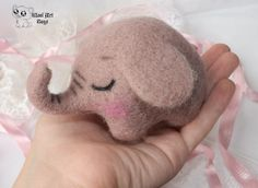 Needle felted pink elephant toy by WoolArtToys.deviantart.com on @DeviantArt