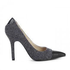 Adelisa tweed pump - Black Grey