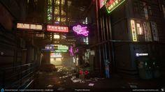 Beyond Human - Game Environment/Level Art - Prophet Alleyway, Andrew Kelley on ArtStation at https://www.artstation.com/artwork/8d1Ww