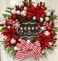 Christmas wreath, front door wreath, holiday wreath, Merry Christmas, candy can, stripes, holly, Christmas, holiday