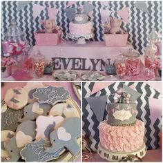 Baby Blue And Gray Elephant Baby Shower. Pink And Gold Princess Elephant Baby Shower Ideas . Home Design Ideas Baby Shower Candy Table, Baby Shower Desserts, Girl Baby Shower Decorations, Baby Shower Cakes, Shower Party, Table Decorations, Baby Girl Elephant, Pink Elephant, Elephant Party