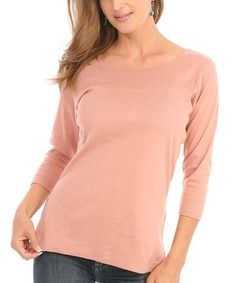 Another great find on #zulily! Dusty Peach Three-Quarter Sleeve Top - Women by Le Mieux #zulilyfinds