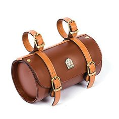 Vintage Fashion and Lifestyle Comfortable Soft Vintage Bicycle Saddle Tail Handlebar Tools Bag, Cylindrical, Handmade