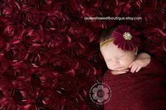 Newborn Headband Burgundy Wine Chiffon Flower Headband With Rhinestone Embellishment Vintage Style Newborn Photo Prop