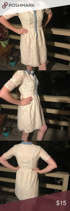 Lace and denim collard dress Beautiful lace dress with denim accents and collar ... great vintage look and details in the lace .... in excellent condition i heart ronson Dresses Midi