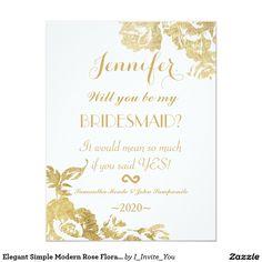 Elegant Simple Modern Rose Floral Gold Faux Print