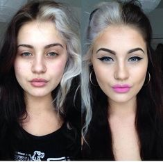 Before and after<br> Half And Half Hair, Half Dyed Hair, Hair Colorful, Two Toned Hair, Blonde Streaks, Coloured Hair, Dark Hair, White Streak In Hair, Hair Goals