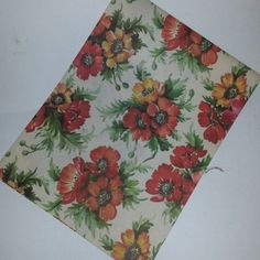 Vintage gift wrap paper wrapping sheet floral theme red orange flowers on white altered art scrap projects scrapbooking