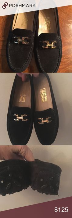f5ff2cb0960 Ferragamo black suede women s driving moccasins Ferragamo black suede  driving moccasins with gold tone hardware Great condition!