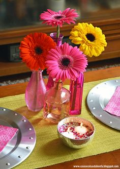 centro de mesa amarelo rosa e coral - Pesquisa Google
