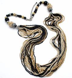 Black Onyx & Beige Agate Seed Bead Necklace Boho Multi Strand Silver Jewelry  #TheJewelryLadysStore #StrandString