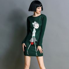 Womens Fashion Wild Cartoon Girl Printed Long Sleeved Round Neck Slim Sweater Dress Step Skirt