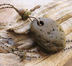 Natural Beach Stone Pendant with Thai Hilltribe von deserttalismans, $220.00