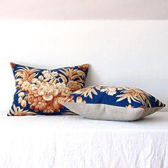Pillow/ Vintage Fabric Pillow Blue Floral Cotton Linen by jillbent