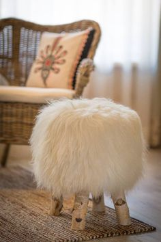 sheep fur stool by Gena