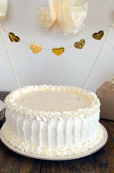 Gold Heart Cake Topper. DIY Gold Wedding Inspiration.