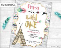 Wild One! Ersten Geburtstagseinladung plus Dankeschön-Karte zum ausdrucken