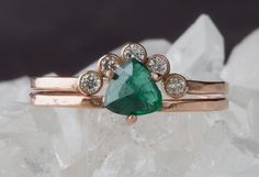 emerald trillion + diamond arc ring in rose gold :: Alexis Russell