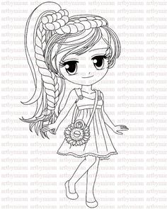 Digi Stamp-Miss Sunshine (without Sunflowers background) , Digital Stamp, Coloring page, Art by Mi Ran Jung