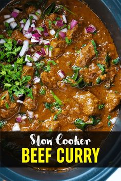 FAKEAWAY BEEF CURRY of DREAMS. This Slow Cooker Beef Curry is a simple, prepare ahead midweek meal and it's LIGHT, HEALTHY and LOW FAT. Don't BELIEVE it? TRY IT. #crockpotrecipe #slowcookerrecipe #beefcurry #curryrecipe #tamingtwins Slow Cooker Recipes, Meat Recipes, Crockpot Recipes, Cooking Recipes, Slow Cooker Beef Curry, Slow Cooked Beef, Family Recipes, Family Meals, Meat Dish