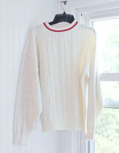 54366306545 1980 s Preppy Vintage Sweater - Winter White Cable Knit Pullover