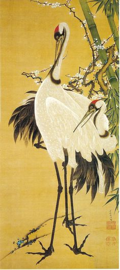 (Japan) Cranes under Bamboo by Ito Jakuchu (1716- 1800).