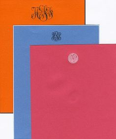 Colorful monogrammed sheets from The Wren Press