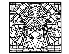 Free coloring page coloring-adult-stained-glass-belgique-exposition-rene-mels-1986-version-square.