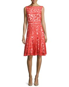 Fit-and-Flare Lace Cocktail Dress by Tadashi Shoji at Neiman Marcus.