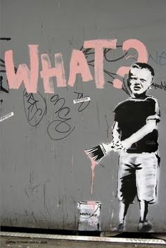This image reminds me of the way real children behave, acting like they have done nothing wrong. This is an example of Banksy's noir style.
