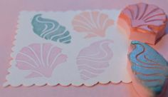 Sea Shell Rubber Stamp Set by PoshBinky on Etsy
