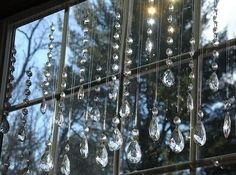 Chandelier drops as window decoration.