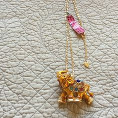 Betsey Johnson Gold Elephant NWT 14 1/2 inches long with the chain.  gold color with gold chain and jewels on it's back. Betsey Johnson Jewelry Necklaces