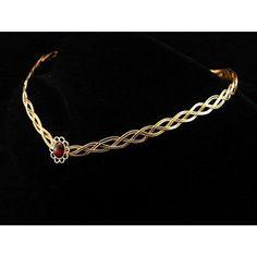 Medieval Elven gold plated garnet circlet
