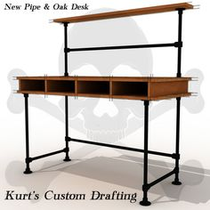 See more industrial pipe desks at http://www.simplifiedbuilding.com/projects/category/desks-tables/ #KeeKlamp #diy #industrialpipe #pipedesk