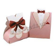 Boîte de bonbons de mariage, papier, vêtement, fait à la main, pour le couple, rose