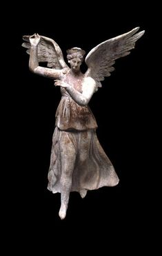 """mini-girlz: """" historyfilia: """" Terracotta figure of winged Victory Hellenistic, Made in Myrina, Turkey From the British Museum """" winged goddess from Turkey """" Ancient Rome, Ancient Greece, Ancient History, Terracota, Sculpture Romaine, Statues, Greece Culture, Ancient Greek Sculpture, Winged Victory"""