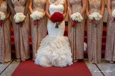 Vera Wang Wedding Dress with Red Roses Bouquet, and Gold Sequin Bridesmaids Dresses with White Roses Bouquets