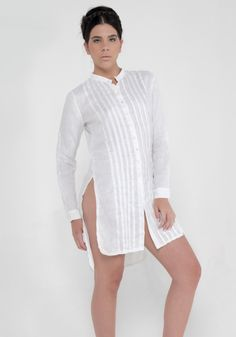 White Linen Pleated Button Down Tunic Linen Tunic, Cotton Linen, Fashion Brand, Womens Fashion, White Shop, Glamour, Blouses For Women, White Dress, Casual